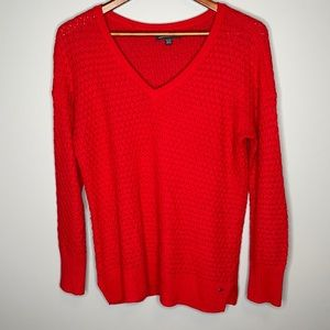 American Eagle red wool cotton textured cable knit v-neck lightweight sweater Sm